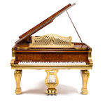 A fine parcel gilt satinwood parquetry Steinway Grand Model C piano the case by Charles Mellier & Co Hamburg and London, circa 1900