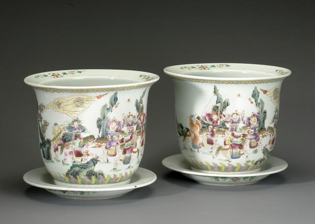 A pair of polychrome enamel porcelain jardineres with underdishes Qianlong marks late Qing/Republic period (one restored)