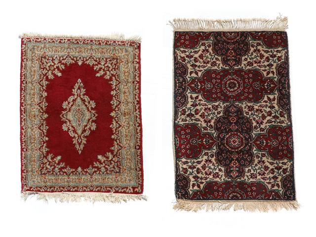 A Kerman rug size approximately 2ft.x 3ft. 3in.