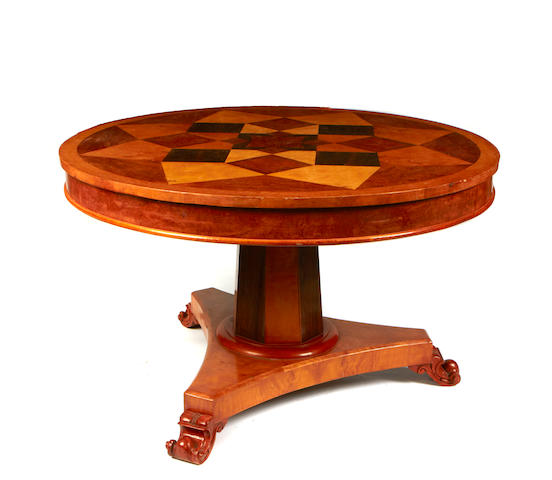 A Continental Neoclassical style parquetry center table