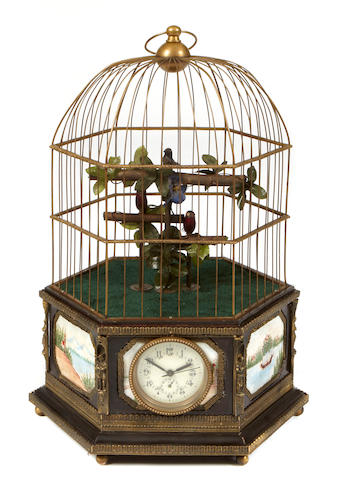 A Swiss style bronze and plaque mounted automaton bird cage