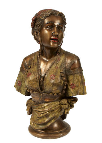 A polychrome decorated bronze bust of a maiden