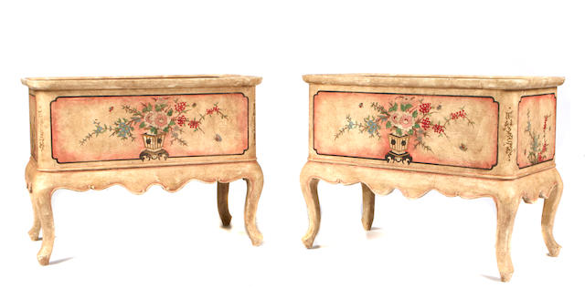 A pair of Rococo style paint decorated jardiniéres