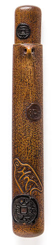 A wood pipe case Edo period, 19th century