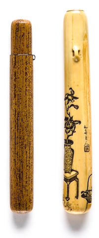 A bamboo and lacquer pipe case Edo period (19th century)