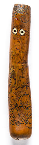 An unusual bamboo pipe case By Tetsugai, Edo period (19th century)