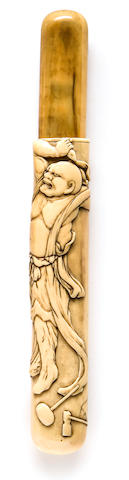 A walrus ivory pipe case By Yamada, Edo period (19th century)