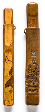 A bamboo pipe case and a wood pipe case Meiji period (late 19th century)