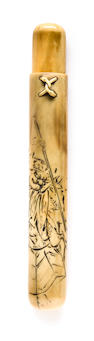 A walrus ivory pipe case By Tanigawa, Edo period (19th century)