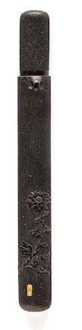 A hardwood pipe case By Gekkei, Edo period (19th century)