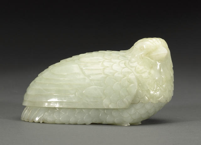A pale greenish-white jade quail box Late Qing/Republic period