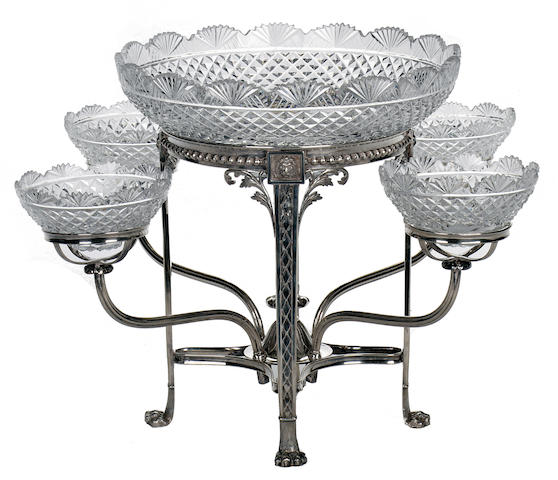 A George III sterling silver and cut glass epergne<BR />by Matthew Bolton, Birmingham, 1802