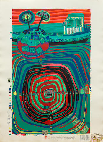 Friedensreich Hundertwasser, Slow Travel Under the Sun, (K. 40), Color screenprint with embossing, Signed and numbered