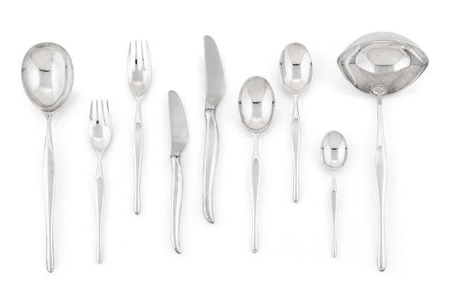 A Tapio Wirkkala for Christophle silverplate Duo flatware service for six