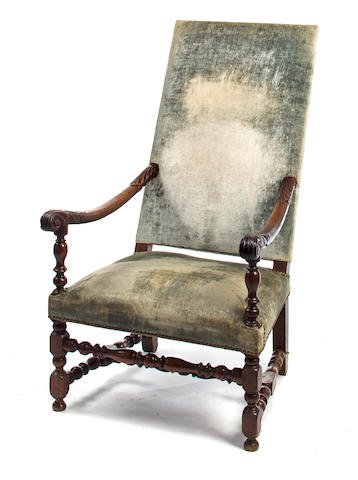 A Louis XIV carved and turned walnut fauteuil fourth quarter 17th century