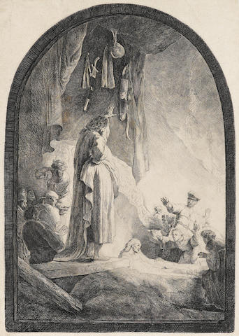 Rembrandt Harmensz van Rijn (Dutch, 1606-1669); The Raising of Lazarus (large plate) (B Holl 73; H 96) final state;