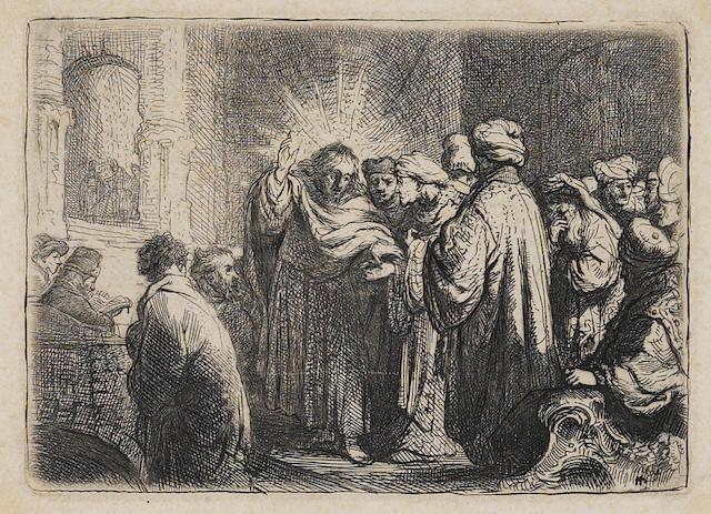 Rembrandt Harmensz van Rijn (Dutch, 1606-1669); Tribute Money (B Holl 68);