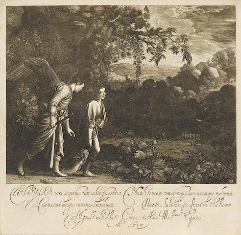 Hendrik  Goudt (1583-1648); Tobias with the Angel, after Adam Elsheimer;