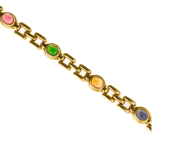 A gem-set panther link bracelet