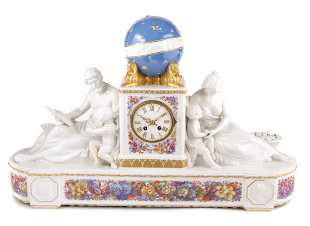 A KPM Berlin porcelain mantel clock
