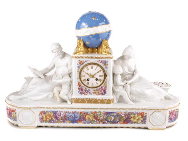 A KPM Berlin porcelain mantel clock
