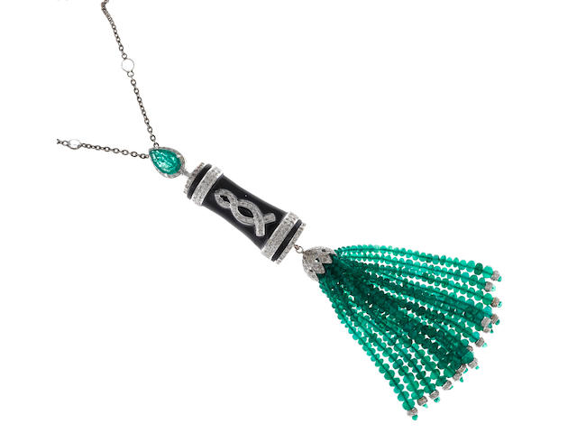 An emerald, diamond, white sapphire and enamel tassel pendant/necklace