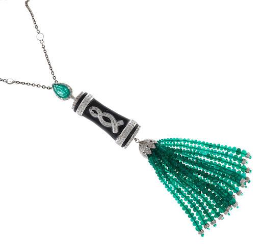 An emerald, diamond, white sapphire and enamel tassel pendant/necklace