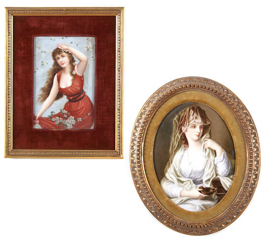 Two German porcelain plaques