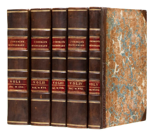 JOHNSON, SAMUEL. 1709-1784. A Dictionary of the English Language. London: Longman, Hurst, Rees, Orme, Brown, et al., 1818.