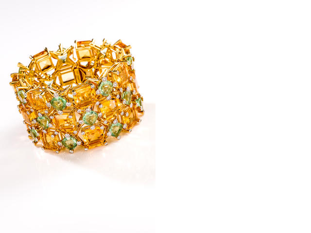 A citrine, fluorite and diamond bracelet, Tony Duquette