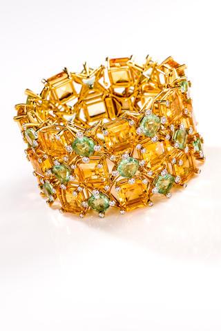 A citrine, fluorite and diamond bracelet, Tony Duquette