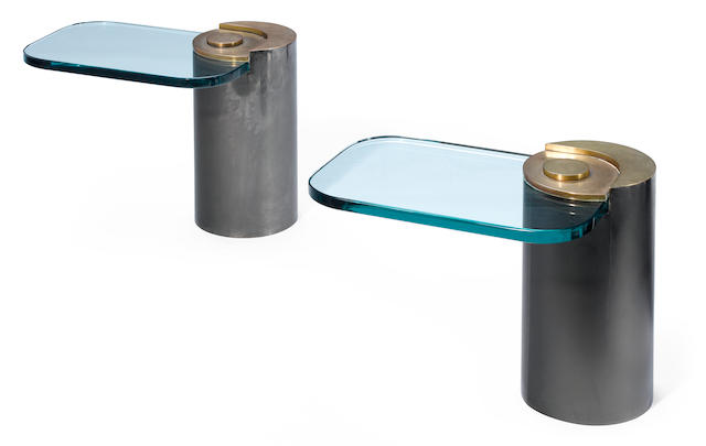 A pair of Karl Springer steel, brass and glass elliptical side tables 1970s
