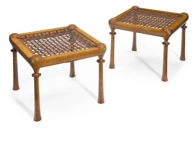 A pair of T.H. Robsjohn-Gibbings for Saridis of Athens walnut and leather four-legged stools designed 1961
