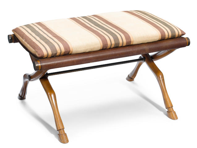 A T.H. Robsjohn-Gibbings for Saridis of Athens walnut, leather and bronze folding stool designed 1961