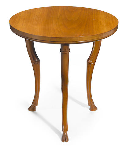 A T.H. Robsjohn-Gibbings for Saridis of Athens walnut three-legged table designed 1961