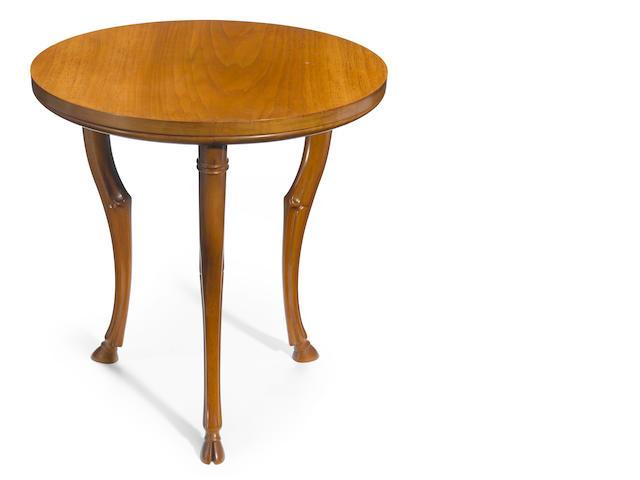 A T.H. Robsjohn-Gibbings for Saridis of Athens walnut three-legged table designed 1961