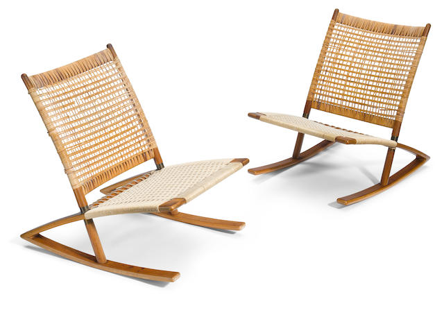 A pair of Soren Georg Jensen teak and caned rocking chairs  mid 20th century
