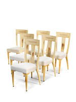 Paulo Buffa Set of six upholstered and vellum dining chairs designed circa 1930  18 1/8 by 21 5/8 by 39 3/8 in. 46 by 55 by 100 cm.