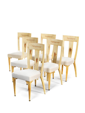 A Set of Six Vellum Dining Chairs  attributed to Paulo Buffa circa 1930  with pearwood inlays of classical Greek figures  Height: 39 3/8 in.                100 cm.