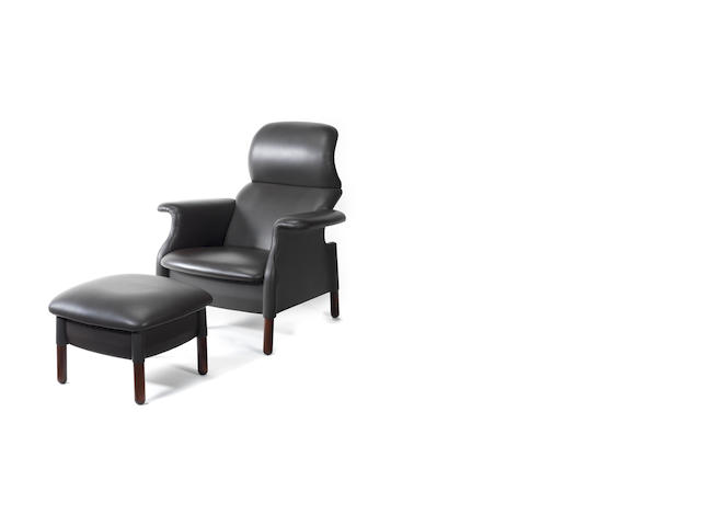 A grey leather armchair and stool San Luca,  Achille Castiglioni Italian c 1980