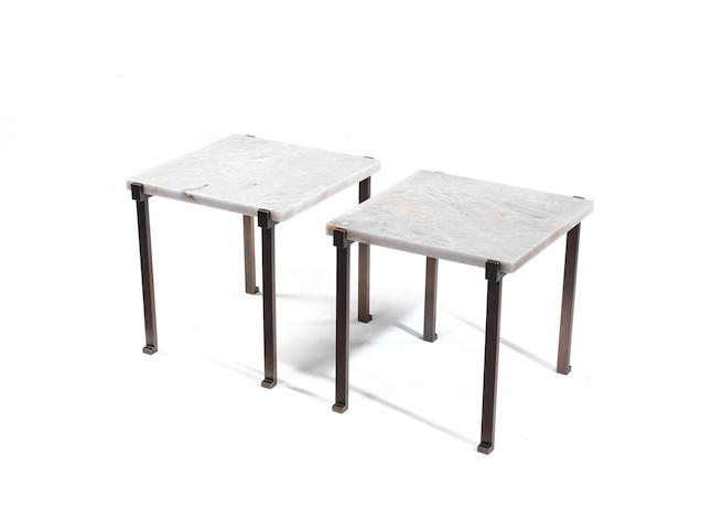 Pair square bronze and rock crystal side table