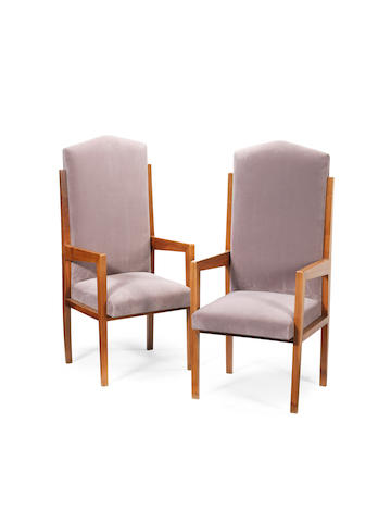 A Pair of Hall Chairs Italian, circa 1930  walnut with velvet upholstery  Height: 50 3/8 in.                128 cm.