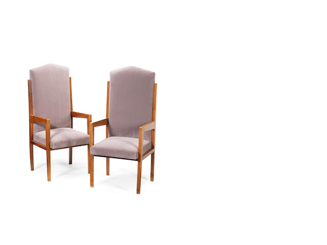 A pair of walnut chairs with upholstered seats and backs Italian c 1930