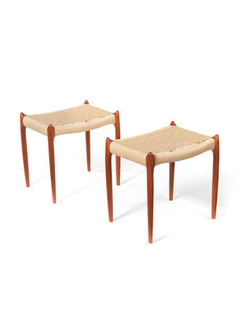 A pair teak and woven stool Moller, Danish c 1960