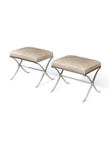 A Pair of Stools French, circa 1940  nickeled bronze frames with leather upholstery  Height: 16 9/16 in. 42 cm.
