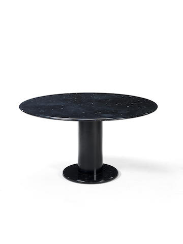 A steel and black marble table Ettore Sottsass, Italian c 1960