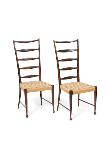 A Pair of Ladderback Chairs  attributed to Paulo Buffa, circa 1955  mahogany frames with cord upholstery  Height: 40 15/16 in.                104 cm.
