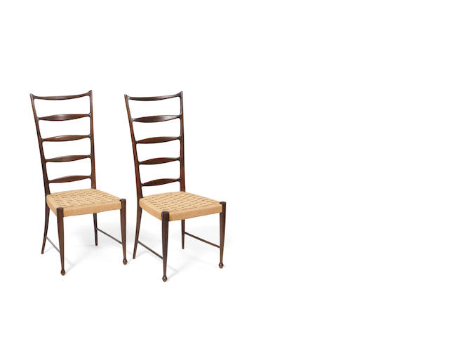 A pair of ladderback and upholstered chairs Paulo Buffa, Italy c 1950