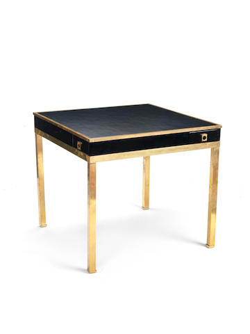 Guy Lefevre A Lacquered Card Table circa 1960  stained mahogany, leather and brass  28 9/16 x 32 x 32 in. 72.5 x 81 x 81 cm.