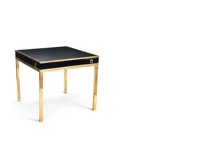 A brass and lacquered  wood card table with leather top Guy Lefevre French c 1960